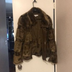New York and Company faux fur brown jacket